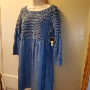 New Crown & Ivy Chambray Smocked Dress Medium
